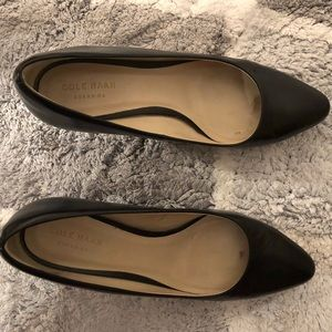 Cole Haan Black Heels Size 7.5 round toe leather
